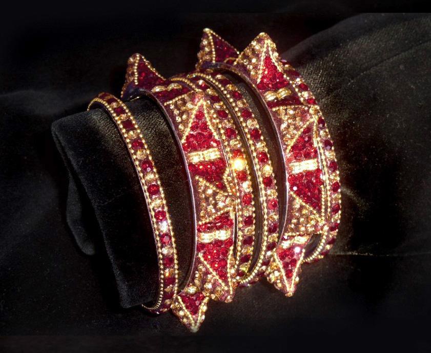 "Exquisite Handmade ""Thai Ruby Dreams"" Bangles"